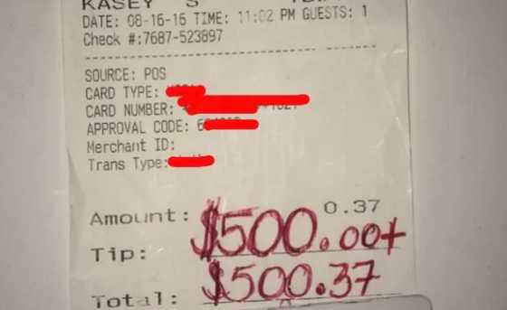 水1杯を注文し500ドルものチップを支払った理由に超感動!!