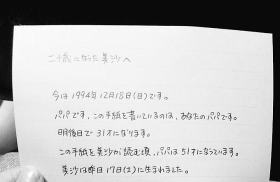 20歳の誕生日の朝もらった、産まれた次の日に書いた父親からの手紙に超感動!!